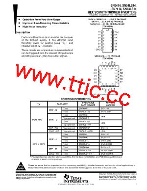 sn74ls14d pdf下载及第1页内容在线浏览